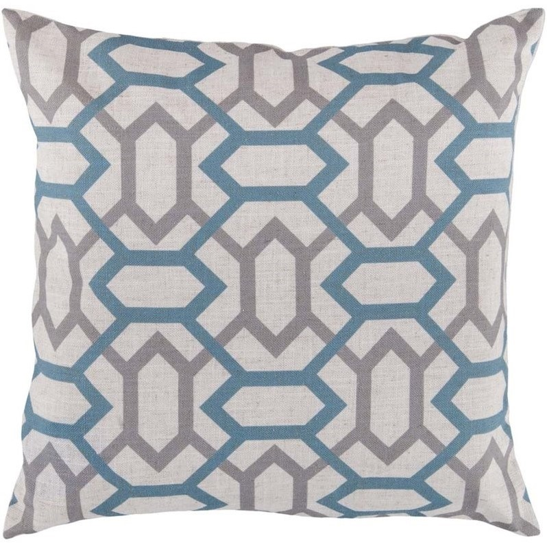 """Surya Zoe Poly Fill 18"""" Square Pillow in Blue and Gray"""