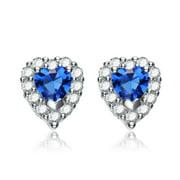 Collette Z  Sterling Silver Blue Cubic Zirconia Heart-Shape Stud Earrings