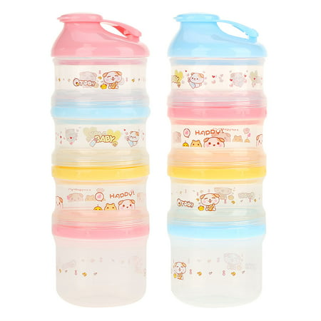 Keenso 4 Layers Compartment Baby Milk Powder Container Portable Snack Formula Dispenser , Baby Milk Container