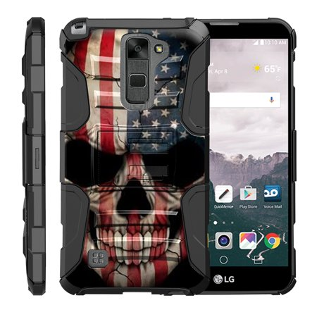 TurtleArmor ® | For LG Stylus 2 | LG G Stylo 2 | LG Stylo 2 [Hyper Shock] Hybrid Dual Layer Armor Holster Belt Clip Case Kickstand - US Flag Skull (Skull Belt)