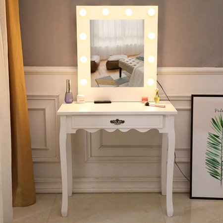 Ktaxon Vanity Set Jewelry Makeup Dressing Table with Lighted Mirror, Writing Desk with Drawer for Bedroom,White (10 Warm LED Bulbs) ()