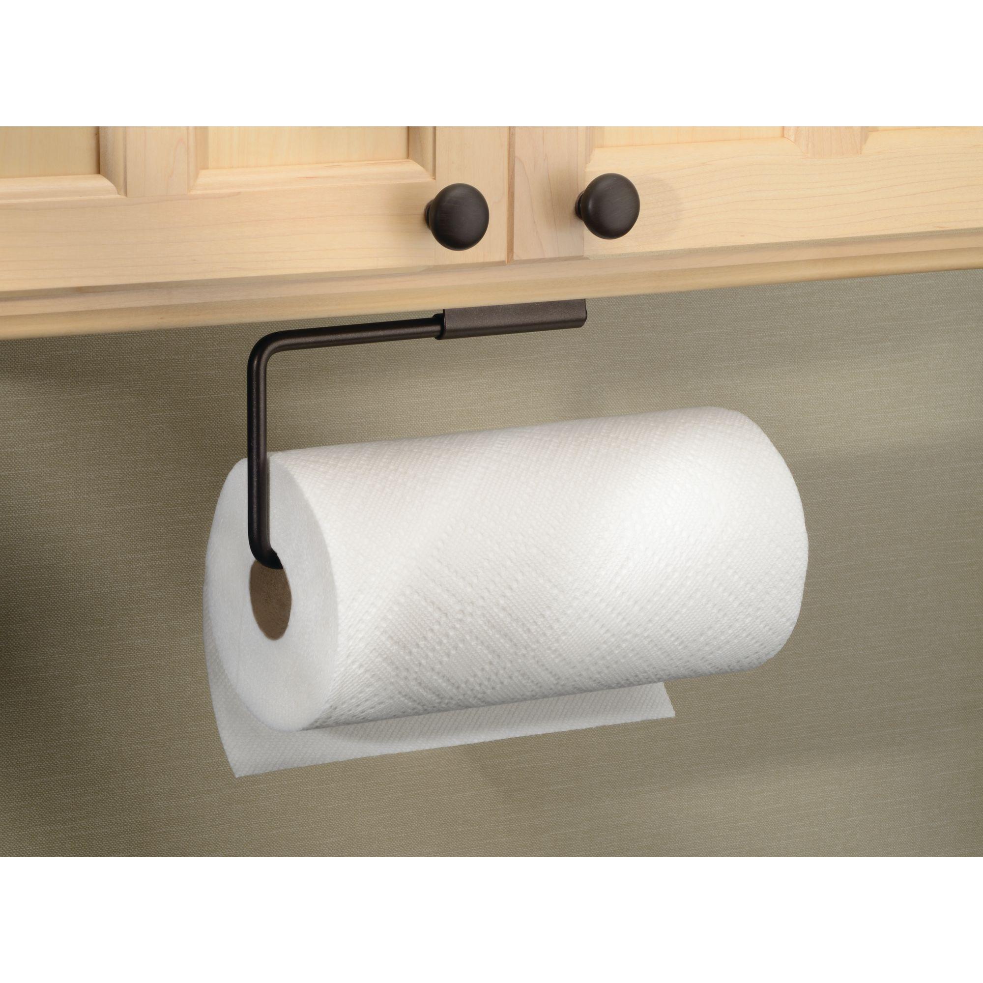 InterDesign Swivel Paper Towel Holder for Kitchen, Wall Mount/Under Cabinet, Bronze