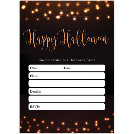 Modern Halloween Party Invites & Envelopes ( Pack of 25 ) Chic Adult Rustic Farmhouse Party Large Blank 5x7