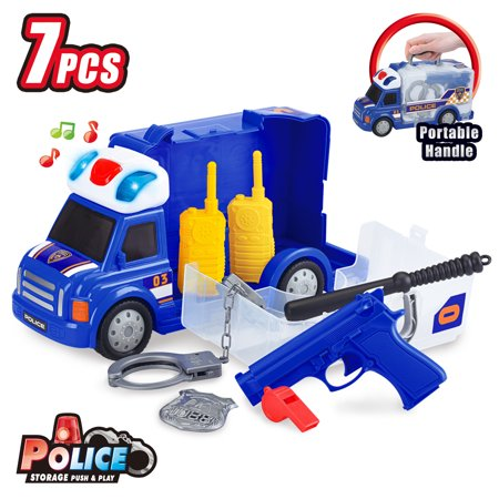 Best Choice Products 7-Piece Kids Portable Push & Play Fix-It Storage Vehicle Police Truck Pretend Toy Set w/ LED Lights, Sounds, Siren, Handcuffs, Whistle, Walkie Talkies - - Toy Handcuffs