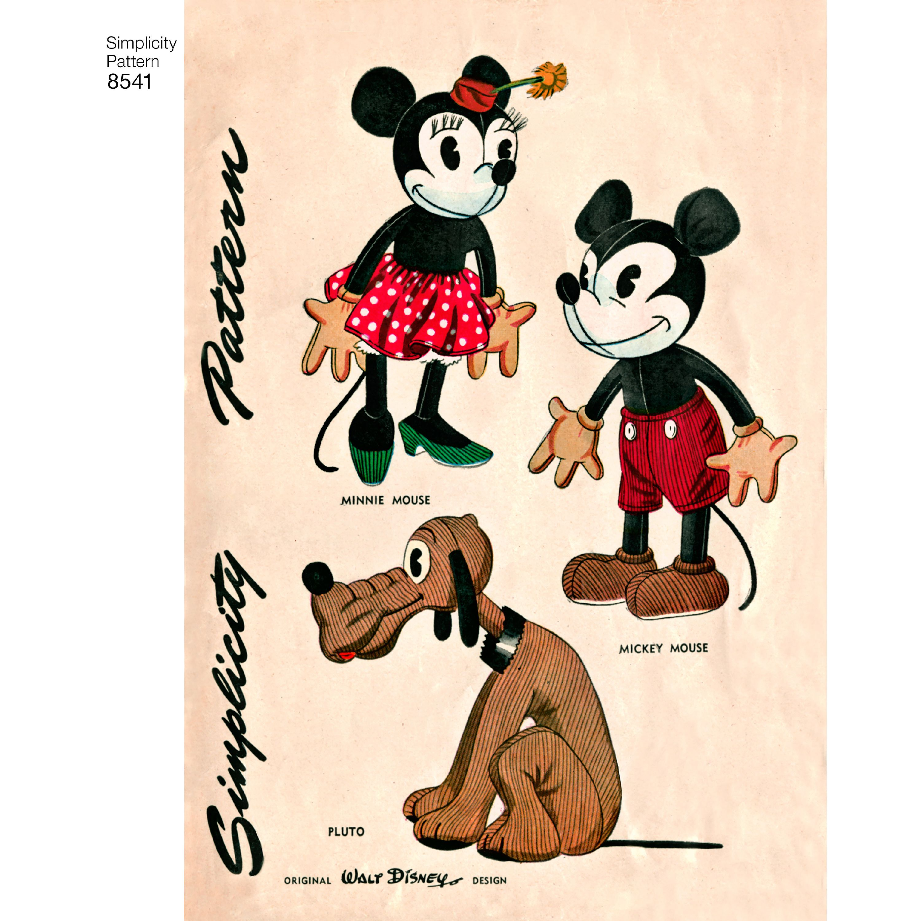Simplicity Vintage Disney Mickey, Minnie and Pluto-ONE SIZE