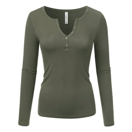 Four Button Long Sleeve Henley - Doublju Women's Long Sleeve Basic Henley Deep V-Neck Button Placket T-Shirt ARMYOLIVE S