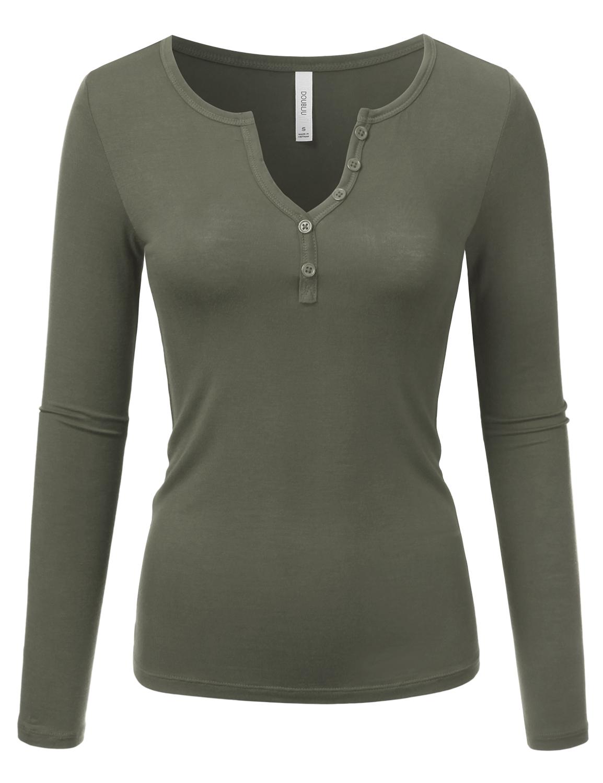 Doublju Women's Long Sleeve Basic Henley Deep V-Neck Button Placket T-Shirt ARMYOLIVE S