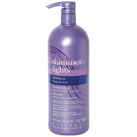 Clairol Shimmer Lights Shampoo, Blonde & Silver 31.5 (Best Purple Shampoo For Blonde Color Treated Hair)