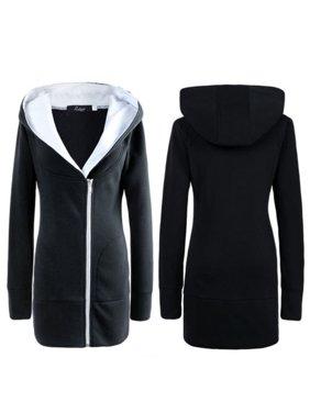 c5d99c6d78db Product Image Plus Size Women Winter Warm Oversize Hooded Jacket Long  Zipper Outwear Coat Hoodie Long Sleeve Casual