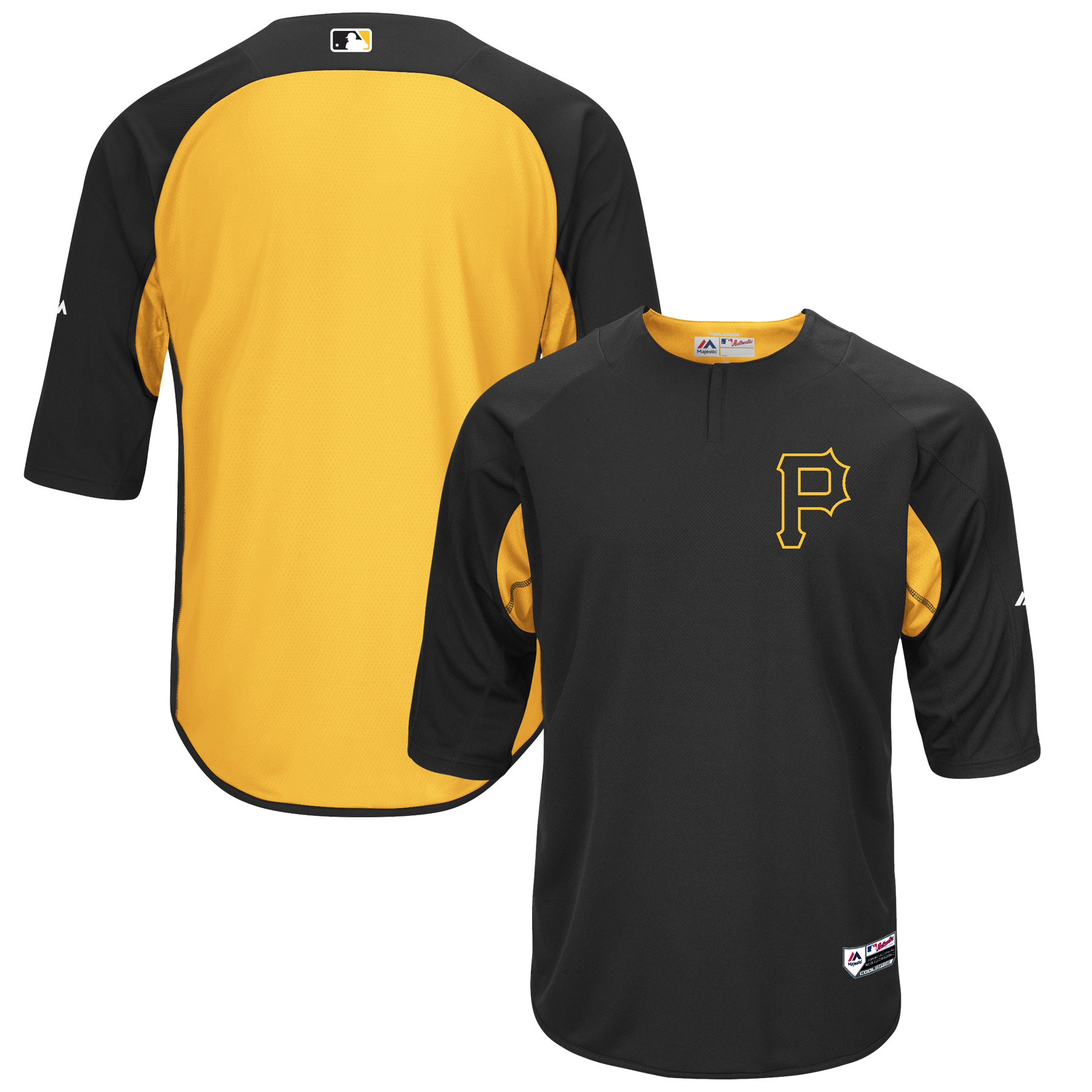 Pittsburgh Pirates Majestic Authentic Collection On-Field 3/4-Sleeve Batting Practice Jersey - Black/Gold