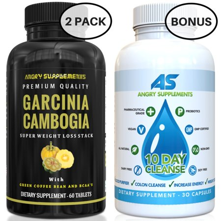 Angry Supplements 2-Pack of Garcinia Cambogia Tablets (60 ct/each) PLUS Bonus 10-Day Colon Cleanse (30 ct) Rapid Weightloss