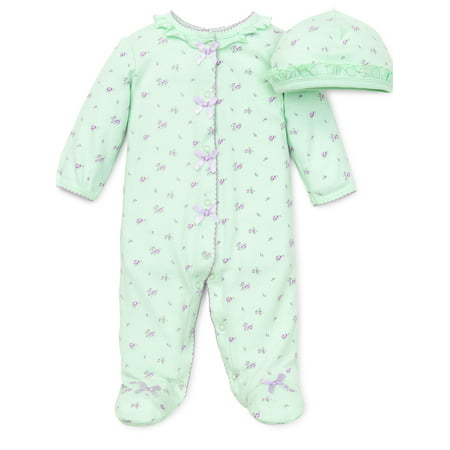 Floral Spray Flower Snap Front Footie Pajamas with Hat For Baby Girls Sleep N Play One Piece Romper Coverall Cotton Infant Footed Sleeper; Pijamas Para Bebes- Green and Pink - 6 Month - Flower Girl Pajamas