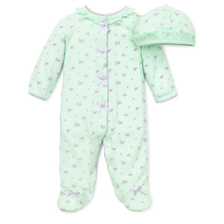 Floral Spray Flower Snap Front Footie Pajamas with Hat For Baby Girls Sleep N Play One Piece Romper Coverall Cotton Infant Footed Sleeper; Pijamas Para Bebes- Green and Pink - 6 Month