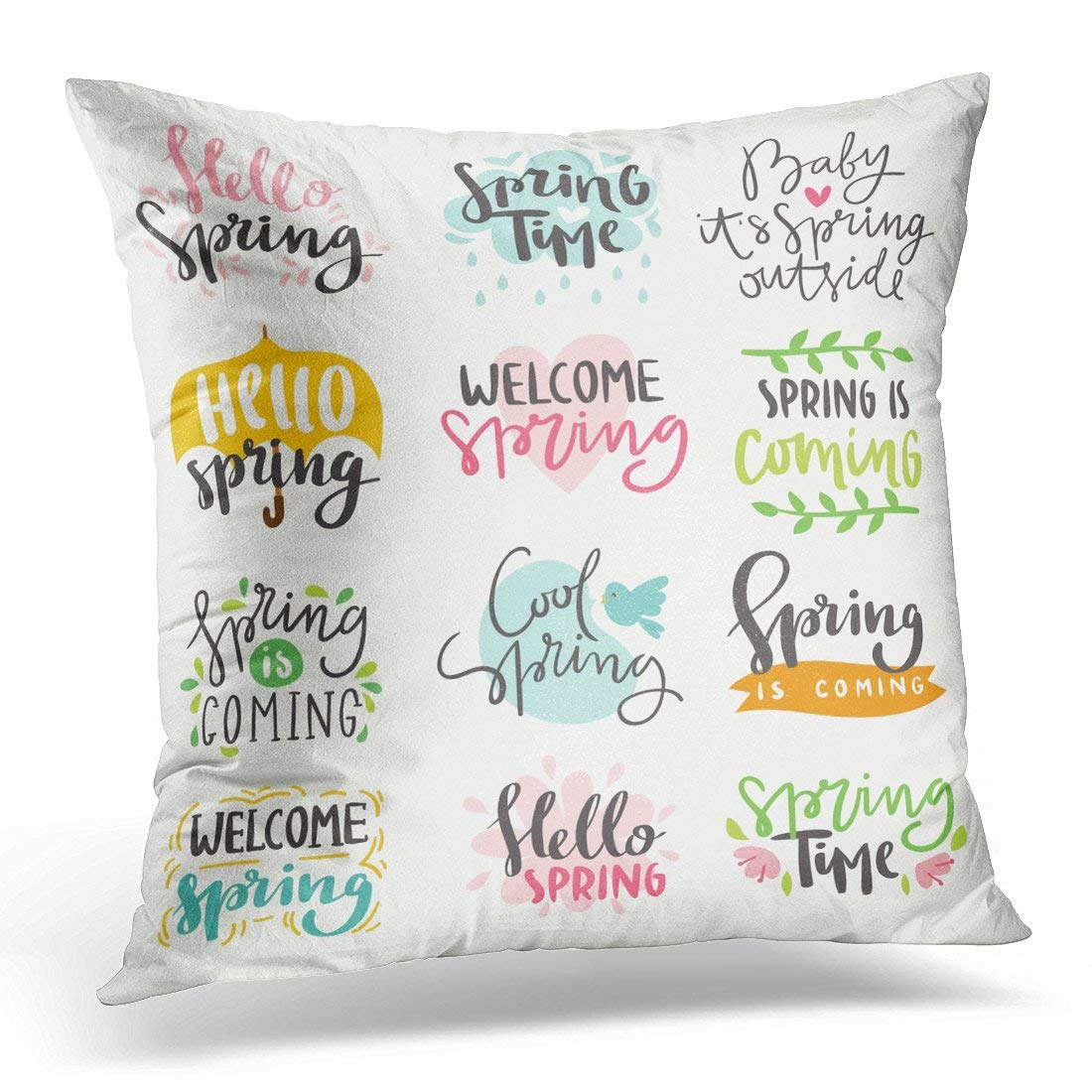 USART Green Spring Time Lettering Special Springtime Sale in Gold Black and White Colors Summer Text Quote Throw Pillow Case Pillow Cover Sofa Home Decor 16x16 Inches