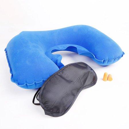 Air Blow Up Pillow Outdoor Camping Inflatable U Shape Pillow Cushion Soft Neck Pillow Eye Mask Earplugs - image 1 de 8