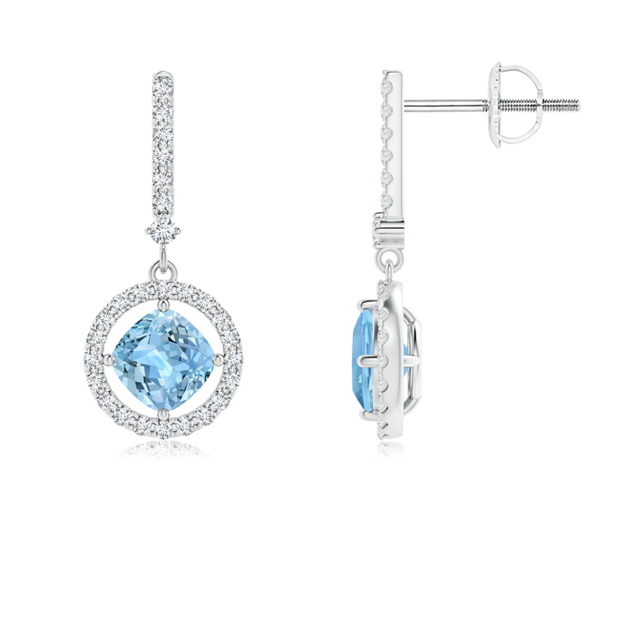 Angara Floating Round Enhanced Blue Diamond Halo Drop Earrings Ht6JMAxD