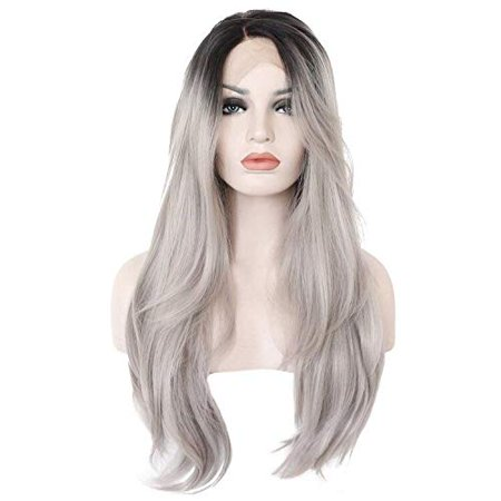 Ebingoo Grey Ombre Dark Roots Long Natural Wave Synthetic Lace Front Wig 26 inch - image 5 of 5