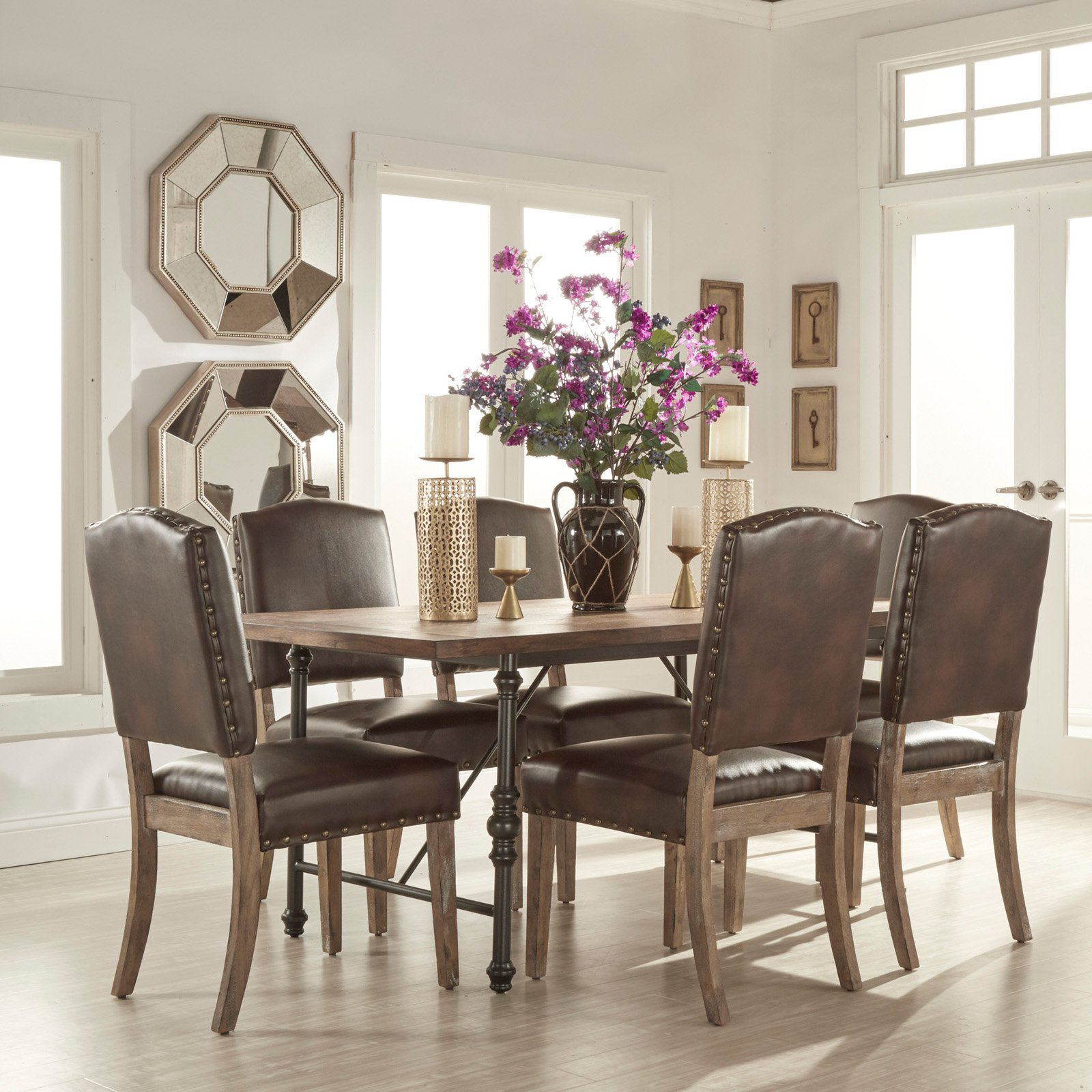 Weston Home 7 Piece Industrial Dining Set with Brown Chairs