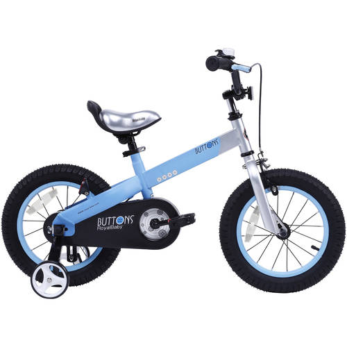 RoyalBaby Matte Buttons Kid's bike, unisex children's bike with training wheels, various trendy features, gifts for fashionable boys & girls, 12 inch wheels, Matte Blue