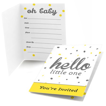 Hello Little One - Yellow and Gray - Fill In Neutral Baby Shower Party Invitations (8 count)