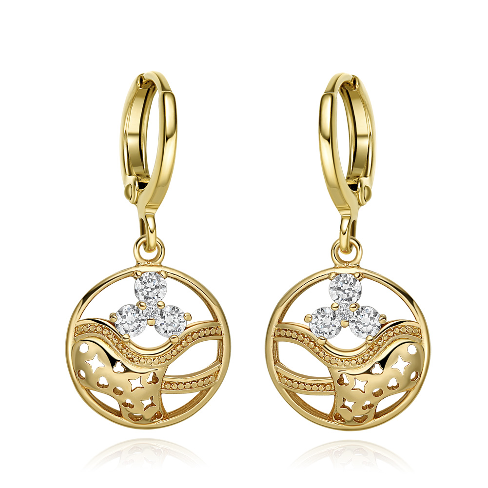 Magical Stars Hearts and Ocean Waves Positive Energy Powers White Sparkling Crystals Gold-Tone Earrings