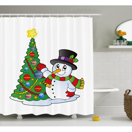 Snowman Shower Curtain, Lovely Character Near a Christmas Tree Festive Celebration Holiday Winter Time, Fabric Bathroom Set with Hooks, Multicolor, by Ambesonne