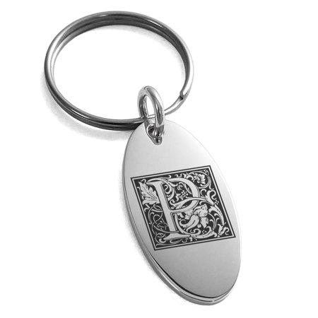 Stainless Steel Letter P Initial Floral Box Monogram Engraved Small Oval Charm Keychain - Custom Engraved Keychains