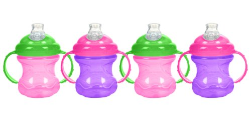 Nuby 8 oz No-Spill Cup with Super Spout 4 Pack (Pink Purple) by Nuby