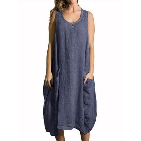 Womens Crew Neck Sleeveless Button Pocket Casual Comfy Dresses (Neckline Button)