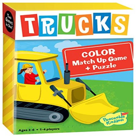 Peaceable Kingdom Trucks 24 Card Color Match Up Memory Game and Floor Puzzle for Kids
