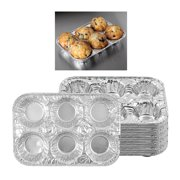 10 Pc Aluminum Foil Muffin Pan 6 Cavity Cake Mold Cupcake Disposable Container