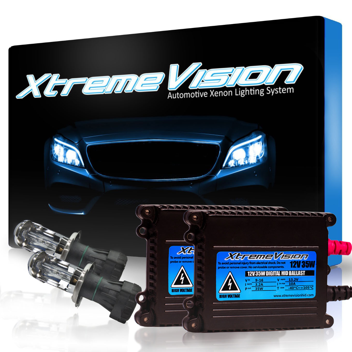 XtremeVision 35W HID Xenon Conversion Kit with Premium Slim Ballast - Bi-Xenon H4 / 9003 10000K ...
