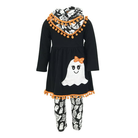 Unique Baby Girls 3 Piece Ghost Halloween Outfit with Infinity Scarf (2T/XS, Black) - College Girl Halloween Outfits