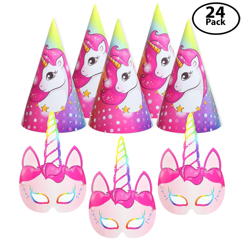 12 Pack Unicorn Party Paper Face Masks, Bundle with 12 Unicorn Party Hats