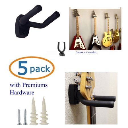 SKL Guitar Hanger Hook Holder Wall Mount Display - Fits All Size Guitars, Bass, Mandolin, Banjo, Etc. with free Wall Screws and Plastic Anchors, PACK of 5 Guitar.., By Top Stage Ship from US