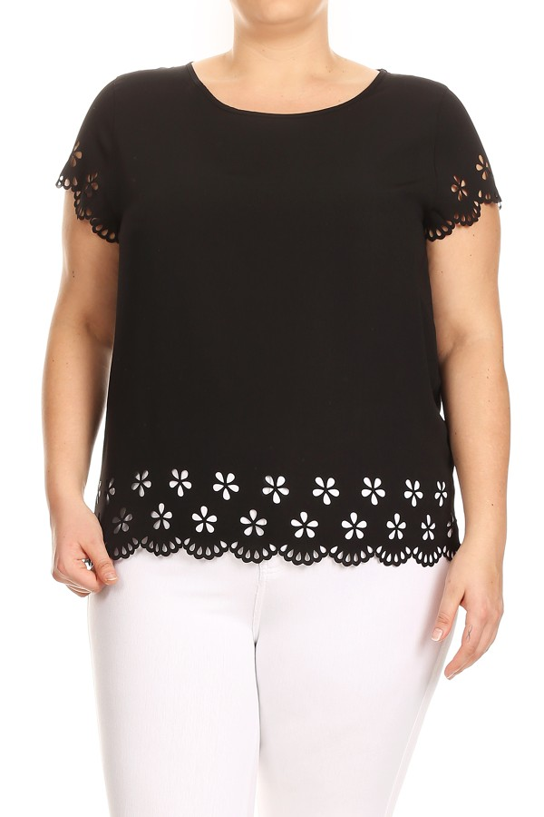 Women's PLUS trendy style floral cutouts solid top