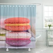SUTTOM Colorful Confectionery French Macaron Cuisine Dessert Macaroon Pastry Snack Shower Curtain 60x72 inch