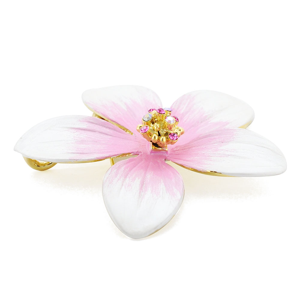 4672f8f04b0 Fantasyard Pink Hawaiian Plumeria Swarovski Crystal Flower pin Brooch  Pendant Jewelry