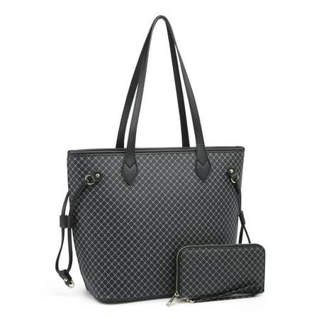 Burton Plaid Bag (Satchel Purses and Handbags for Women, POPPY Plaid Shoulder Tote Bags Wallets Top Handle Messenger Hobo 2pcs Set, Black )