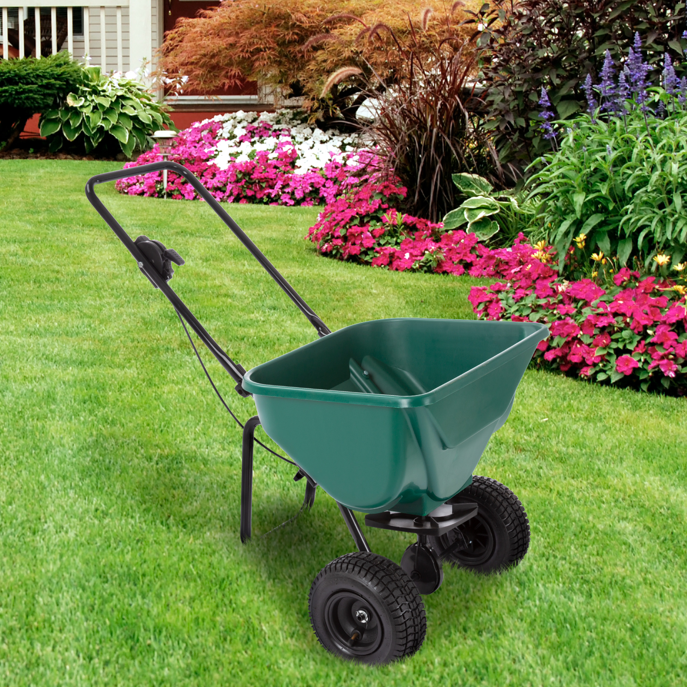 spreader lawn rotary broadcast pound capacity behind walk