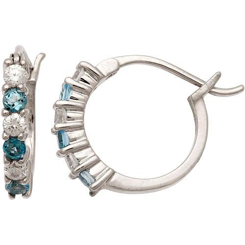 .48 Carat T.G.W. Blue Topaz and .60 Carat T.G.W. CZ Sterling Silver Hoop Earrings