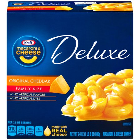 Cheddar Cheese Rice - Kraft Deluxe Original Cheddar Macaroni & Cheese Dinner 24 oz. Box