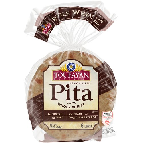 Toufayan Wheat Whole Pitas, 12 oz