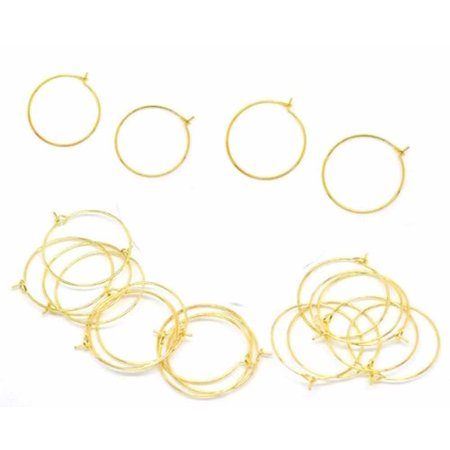 Square Beaded Hoops - 200 Gold-plated Brass 25mm Beading Hoop Wine Glass Charms
