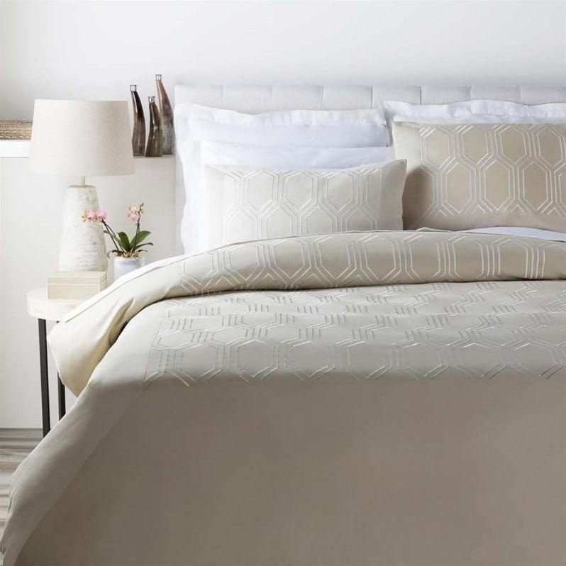 Surya Empire Woven Cotton Full Queen Duvet in Natural