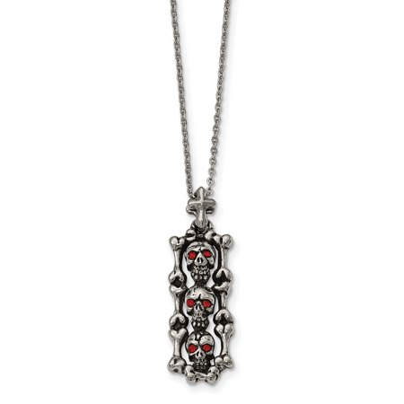 Stainless Steel Antiqued and Polished with Red Crystal Skull Necklace 22in - image 4 of 4