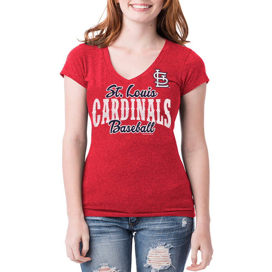 St. Louis Cardinals Womens Short Sleeve Team Color Graphic Tee