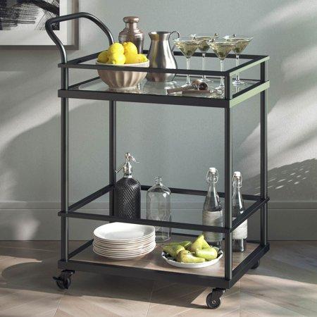 Carter Modern Rolling Glass Bar 2-Tier Bar Cart Matte Black Metal Frame Oak Wood