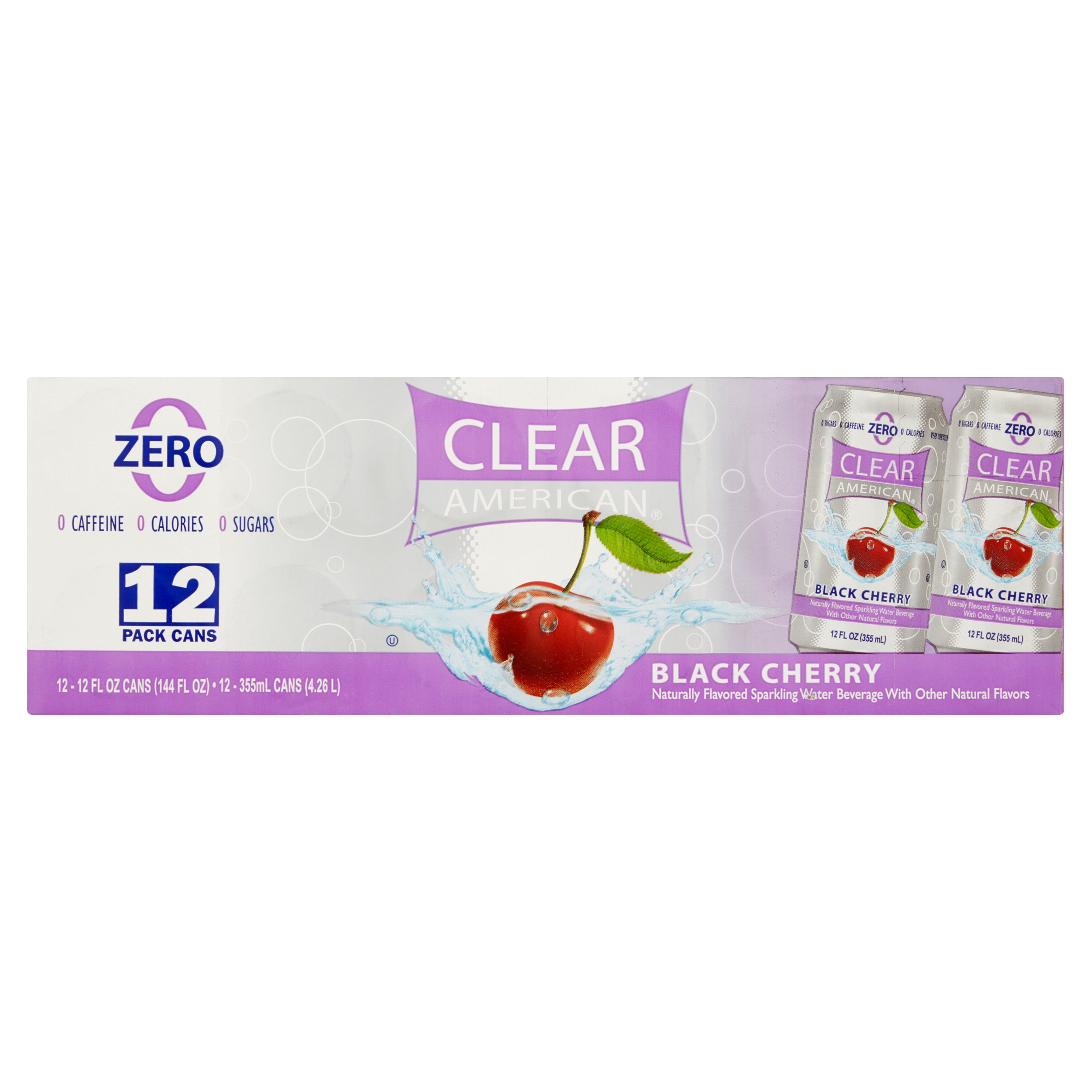 (2 Pack) Clear American Sparkling Water, Black Cherry, 12 Fl Oz, 12 Count