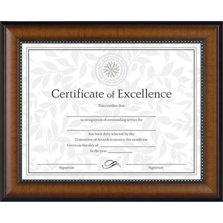 - DAX Prestige Document Frame, Walnut/Black, Gold Accents, Certificate, 8 1/2 x 11